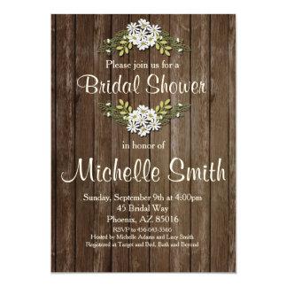 Rustikale Brautparty-Einladung, Gänseblümchen, mit Karte