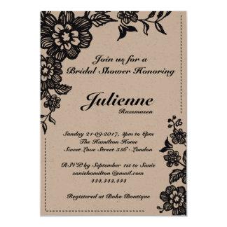 Rustikale Brautparty-Einladungen des Floweret-| 12,7 X 17,8 Cm Einladungskarte