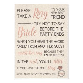 Rustikale Brautparty-Spiel-Auswahl ein Ring 12,7 X 17,8 Cm Einladungskarte