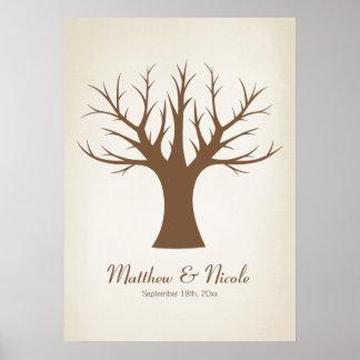Rustikale Brown-Fingerabdruck-Baum-Hochzeit Poster