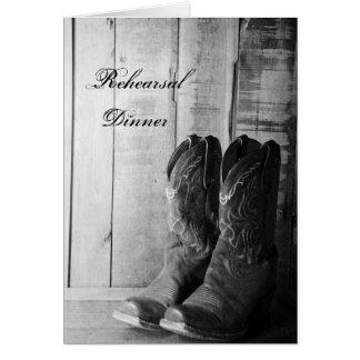 Rustikale Cowboystiefel, die Proben-Abendessen Karte