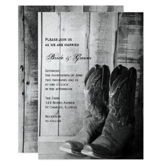 Rustikale Cowboystiefel-Land-Western-Hochzeit 12,7 X 17,8 Cm Einladungskarte