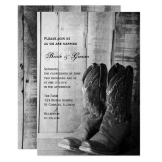 Rustikale Cowboystiefel-Land-Western-Hochzeit Karte