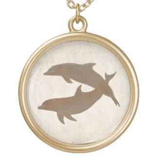 Rustikale Delphin-Strand-Hochzeit Halskette Mit Rundem Anhänger