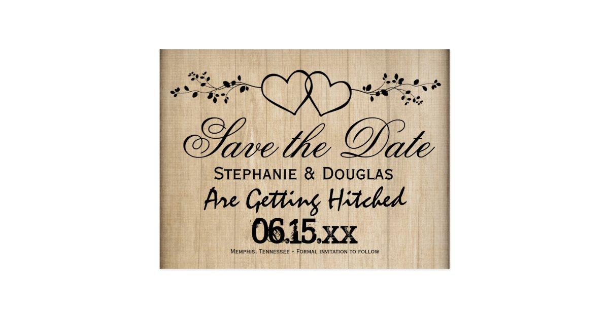 rustikale doppelte herz save the date postkarten zazzle. Black Bedroom Furniture Sets. Home Design Ideas