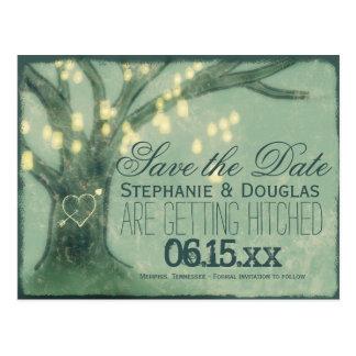 Rustikale Eichen-Baum-Maurer-Glas-Save the Date Postkarte