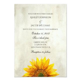 Rustikale Einladungssonnenblume Landhochzeit laden Karte