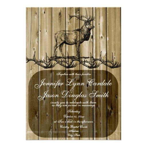 Rustikale Elch-Tier-Jagd-Hochzeits-Einladungen