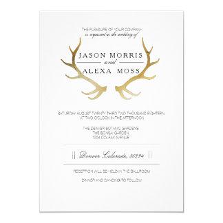 Rustikale elegante Hochzeit des Goldgeweih-| 12,7 X 17,8 Cm Einladungskarte