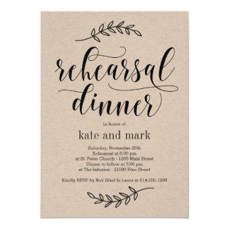 Rustikale Eleganz-Proben-Abendessen-Einladung Karte