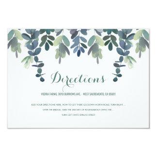 Rustikale Eukalyptus-Grün-Hochzeits-Richtungen Karte