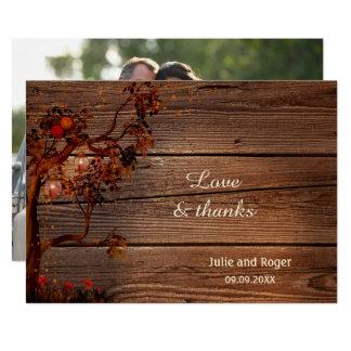 Rustikale Fall-Foto-Hochzeit danken Ihnen zu Karte