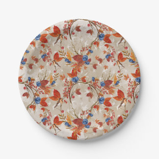 Rustikale Fall-Herbst-Blumen-Blumenmuster Pappteller