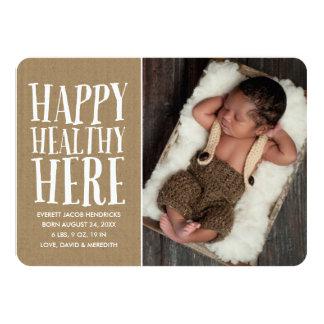 Rustikale Foto-Geburts-Mitteilung 11,4 X 15,9 Cm Einladungskarte