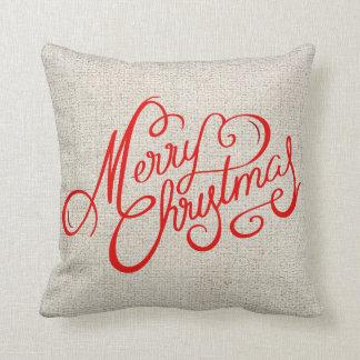 Rustikale frohe Weihnacht-rote Vintage Typografie Kissen