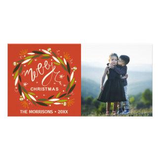 Rustikale frohe Weihnacht-rotes u. grünes Karte
