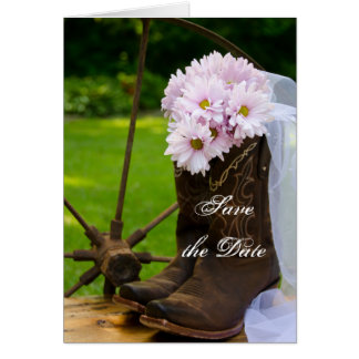 Rustikale Gänseblümchen-Cowboystiefel, die Save Karte