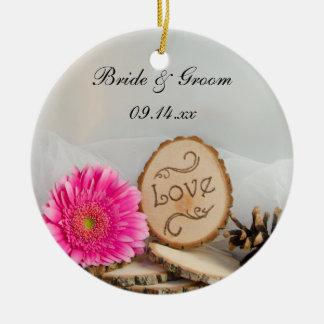 Rustikale Gänseblümchen-Waldhochzeits-Brautjungfer Keramik Ornament