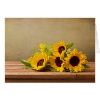 Rustikale gelbe Sonnenblume-Blume hallo, danke Karte