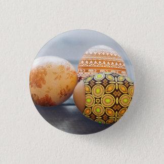 Rustikale gemalte Ostereier Runder Button 3,2 Cm