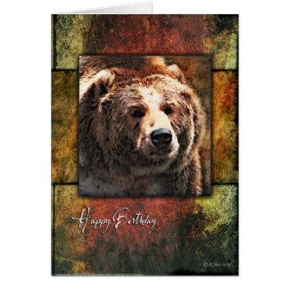 Rustikale gerahmte Grizzly-Geburtstags-Karte Karte