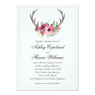 Rustikale Geweihe Boho Blumenfaszinations-Hochzeit 12,7 X 17,8 Cm Einladungskarte