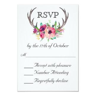 Rustikale Geweihe Boho Blumenfaszinations-Hochzeit 8,9 X 12,7 Cm Einladungskarte