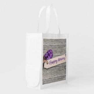 Rustikale glückliche Norooz Hyazinthe - Wiederverwendbare Einkaufstasche