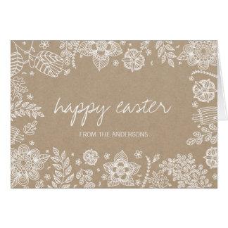 Rustikale glückliche Ostern Gruß-mit Blumenkarte Karte