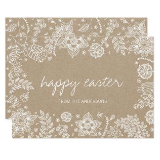 Rustikale glückliche Ostern mit Blumenkarte Karte