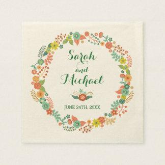 Rustikale grüne BlumenKranz-Hochzeit Serviette