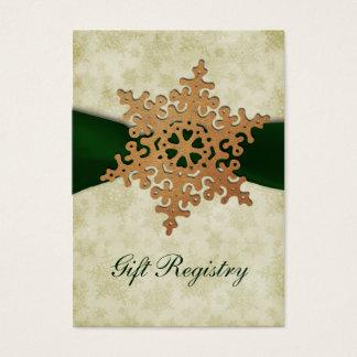 rustikale grüne Schneeflocken Geschenkladen Karten