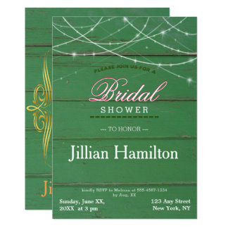 Rustikale grüne Schnur beleuchtet 12,7 X 17,8 Cm Einladungskarte