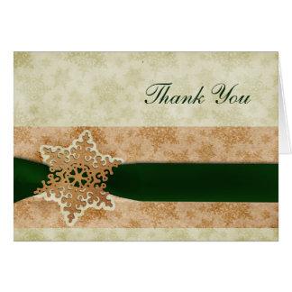 rustikale grüne Winterhochzeit danken Ihnen Grußkarten