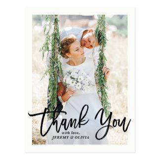 Rustikale Handbeschriftungs-Foto-Hochzeit danken Postkarte