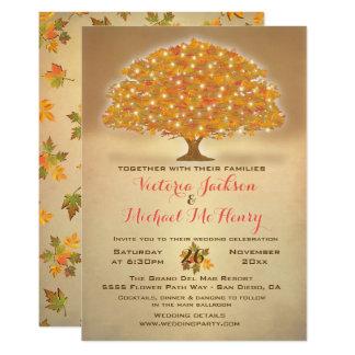 Rustikale Herbst-Hochzeit mit Funkelnlichtern Karte