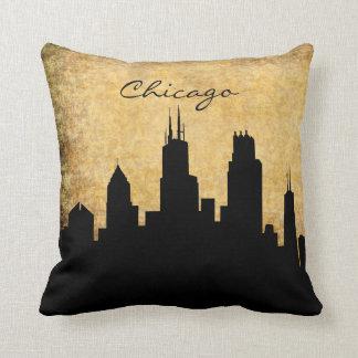 Rustikale Hintergrund-Chicago-Skyline Kissen
