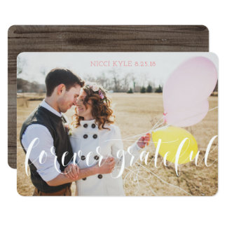 Rustikale Hochzeit danken Ihnen Karten mit Foto Karte