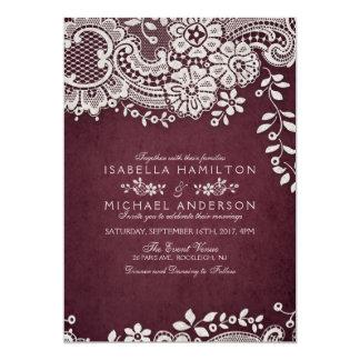 Rustikale Hochzeit eleganter Vintager Spitzes Karte