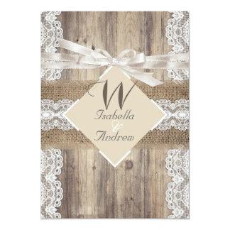 Rustikale Hochzeits-beige weiße Spitze-hölzerne 12,7 X 17,8 Cm Einladungskarte