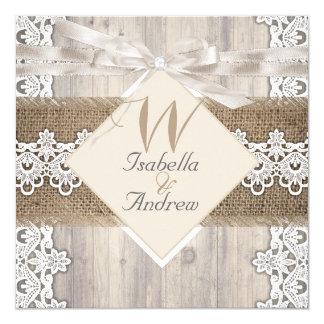 Rustikale Hochzeits-beige weiße Spitze-hölzerne Quadratische 13,3 Cm Einladungskarte