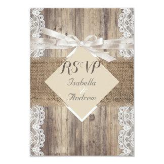 Rustikale Hochzeits-beige weißes Spitze-Holz UAWG 8,9 X 12,7 Cm Einladungskarte