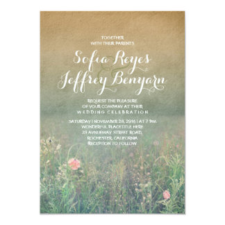 Rustikale Hochzeits-Einladung - die Sommer-Wiese 12,7 X 17,8 Cm Einladungskarte