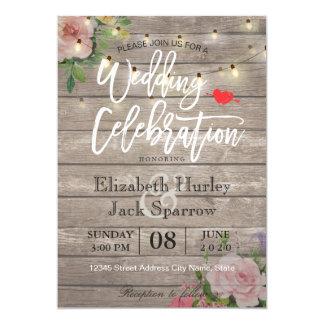 Rustikale Hochzeits-Einladungs-hölzernes 12,7 X 17,8 Cm Einladungskarte