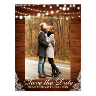 Rustikale Hochzeits-hölzerne Spitze beleuchtet Postkarte