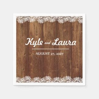 Rustikale Hochzeits-hölzerne Spitze-Serviette Papierservietten