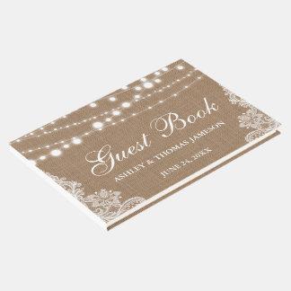 Rustikale Hochzeits-Leinwand-Schnur beleuchtet Gästebuch