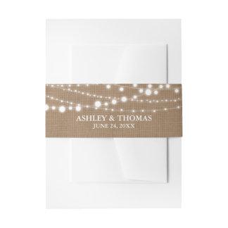 Rustikale Hochzeits-Leinwand-Schnur-Lichter Einladungsbanderole