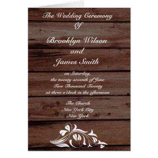 Rustikale Hochzeits-Programme mit Blumen-Dekor Grußkarte