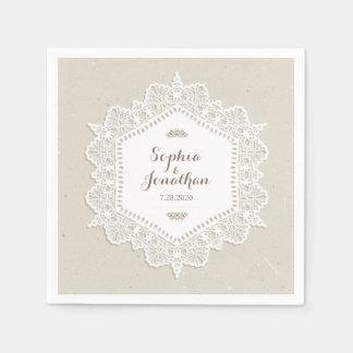 Rustikale Hochzeits-romantischer Vintager Papierserviette